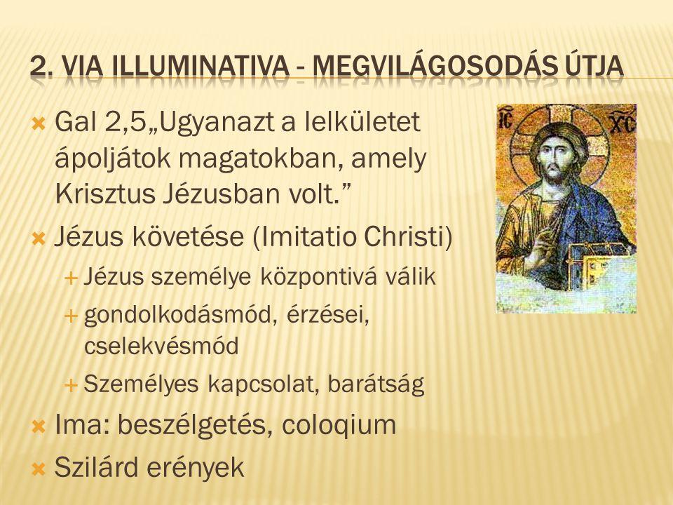 """ Gal 2,5""""Ugyanazt a lelkületet ápoljátok magatokban, amely Krisztus Jézusban volt.""""  Jézus követése (Imitatio Christi)  Jézus személye központivá v"""
