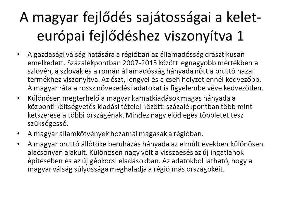 A magyar fejlődés sajátosságai a kelet- európai fejlődéshez viszonyítva 1 • A gazdasági válság hatására a régióban az államadósság drasztikusan emelke
