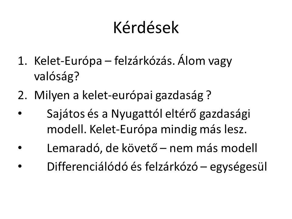 Kérdések 1.Kelet-Európa – felzárkózás. Álom vagy valóság? 2.Milyen a kelet-európai gazdaság ? • Sajátos és a Nyugattól eltérő gazdasági modell. Kelet-