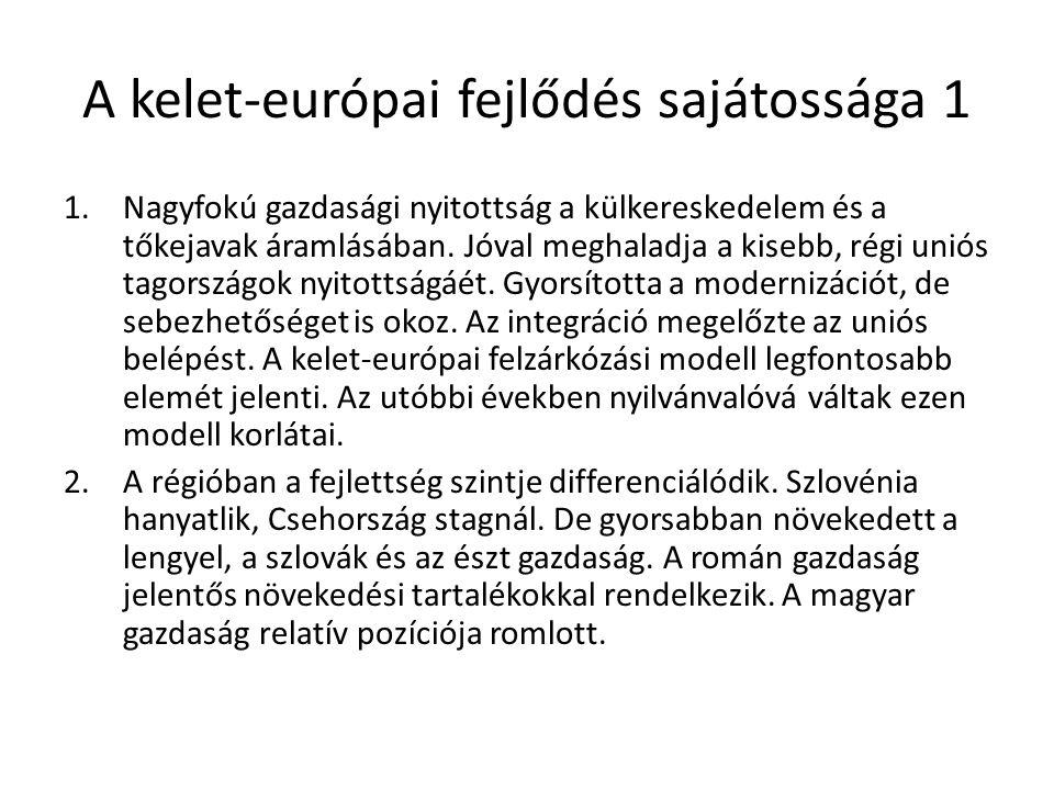 Gazdasági nyitottság (2012) Import/GDPExport/GDP Ausztria42,840,6 Németo.37,744,4 Finno.29,229,3 Portugália32,727,5 Cseho.63,367,1 Észto.78,373,9 Magyaro.73,477,5 Lengyelo.40,038,6 Románia38,232,8 Szlovákia82,988,0 Szlovénia61,460,4 KMT beáramlás állomány /GDP KMT kiáramlás állomány/ GDP Ausztria39,754,0 Németo.21,145,6 Portugália48,833,5 Cseho.69,67,7 Észto.86,226,5 Magyaro.81,627,4 Lengyelo.45,911,8 Románia42,70,8 Szlovákia53,44,8 Szlovénia30,017,0