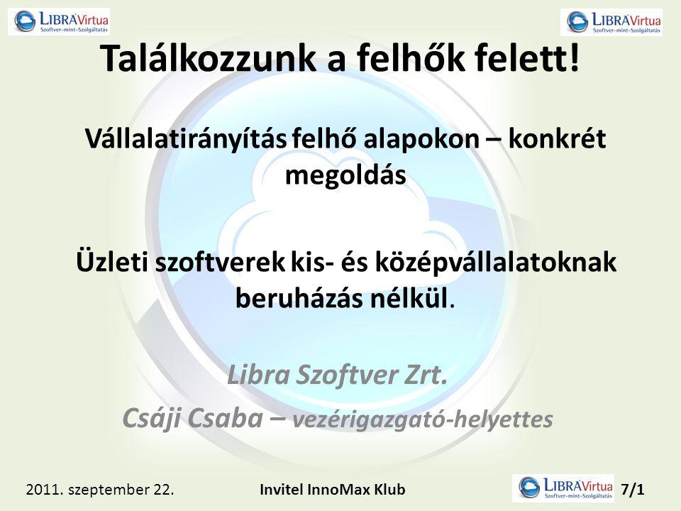 Találkozzunk a felhők felett! Libra Szoftver Zrt. Csáji Csaba – vezérigazgató-helyettes Vállalatirányítás felhő alapokon – konkrét megoldás Üzleti szo