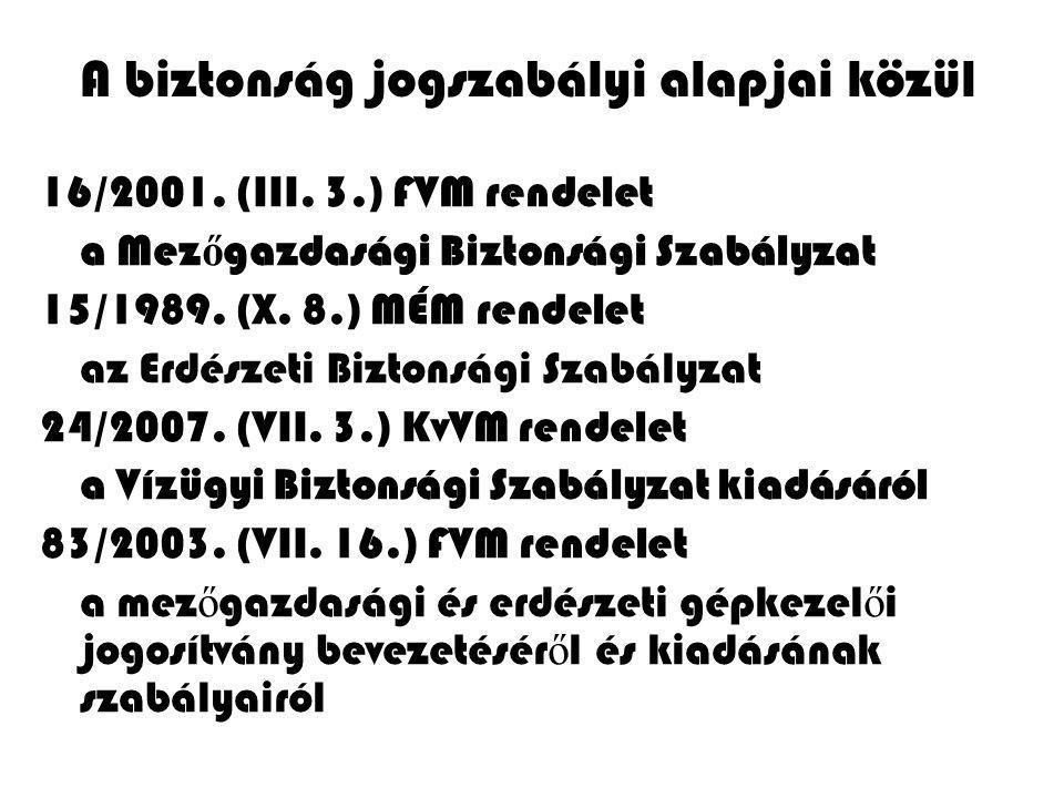 A biztonság jogszabályi alapjai közül 16/2001. (III. 3.) FVM rendelet a Mez ő gazdasági Biztonsági Szabályzat 15/1989. (X. 8.) MÉM rendelet az Erdésze