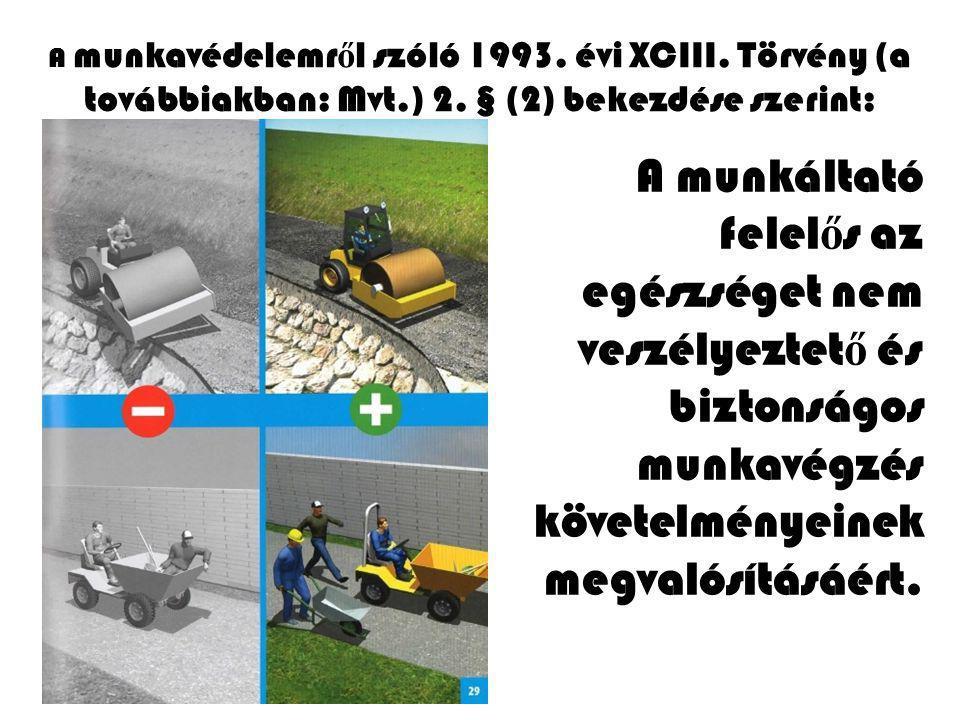 A munkavédelemr ő l szóló 1993. évi XCIII. Törvény (a továbbiakban: Mvt.) 2. § (2) bekezdése szerint: A munkáltató felel ő s az egészséget nem veszély
