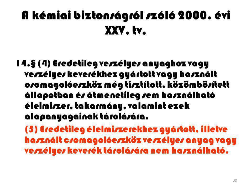 30 A kémiai biztonságról szóló 2000. évi XXV. tv. 14.§ (4) Eredetileg veszélyes anyaghoz vagy veszélyes keverékhez gyártott vagy használt csomagolóesz