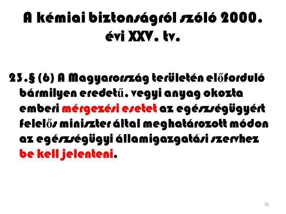 31 A kémiai biztonságról szóló 2000. évi XXV. tv. 23.§ (6) A Magyarország területén el ő forduló bármilyen eredet ű, vegyi anyag okozta emberi mérgezé
