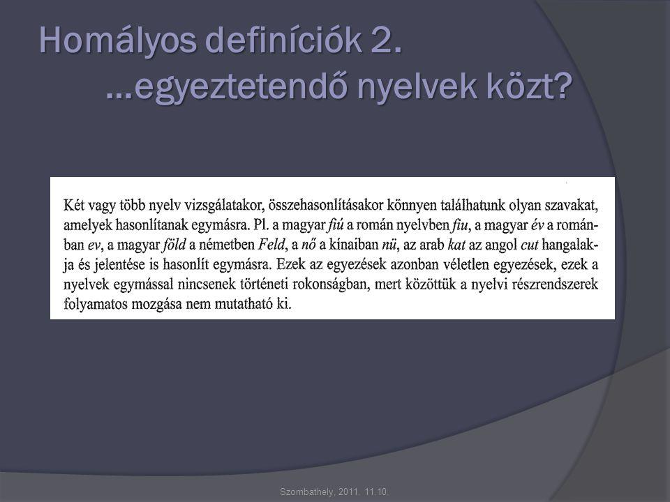 Homályos definíciók 2. …egyeztetendő nyelvek közt Szombathely, 2011. 11.10.