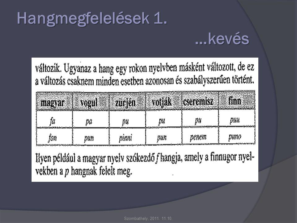 Hangmegfelelések 1. …kevés Szombathely, 2011. 11.10.