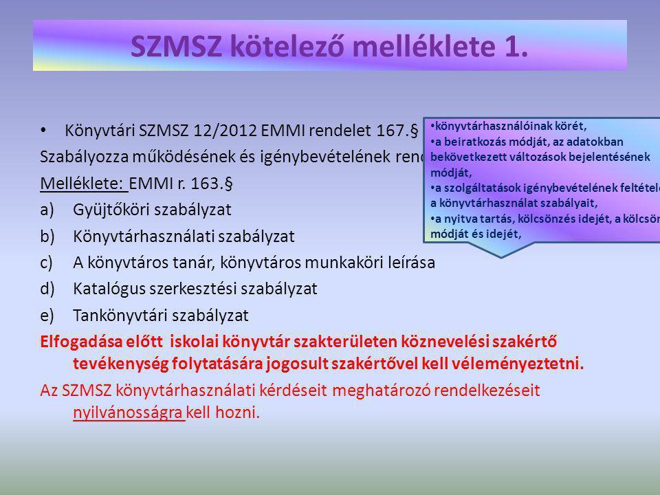 SZMSZ kötelező melléklete 2.Adatkezelési szabályzat 12/2012 EMMI rendelete 84.