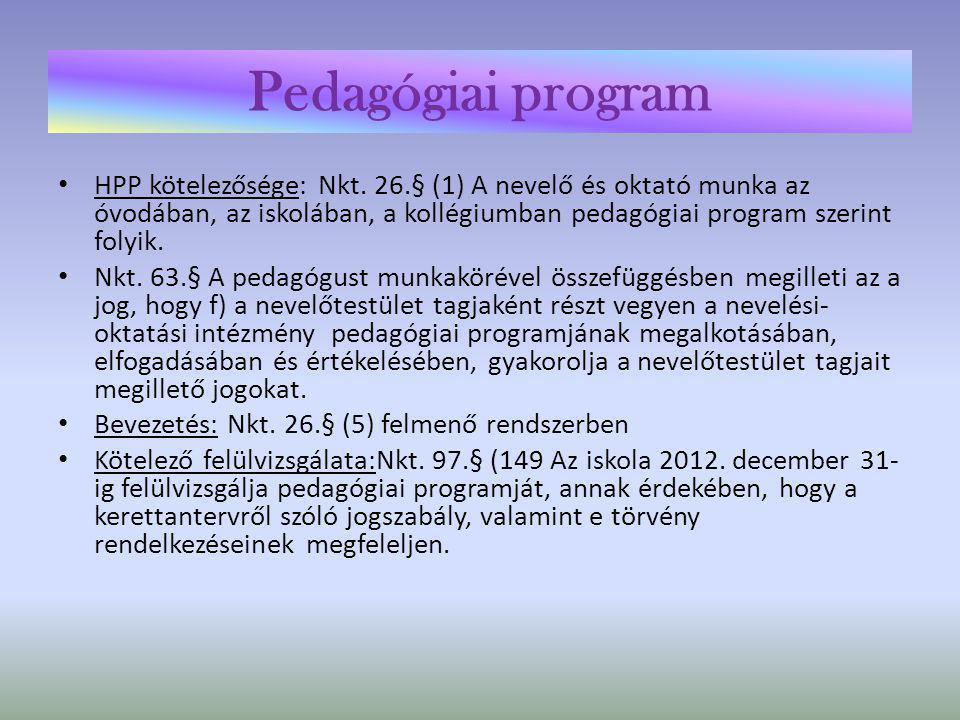 Pedagógiai program eljárásrendje Kt.Nkt.A nevelőtestület készíti el.