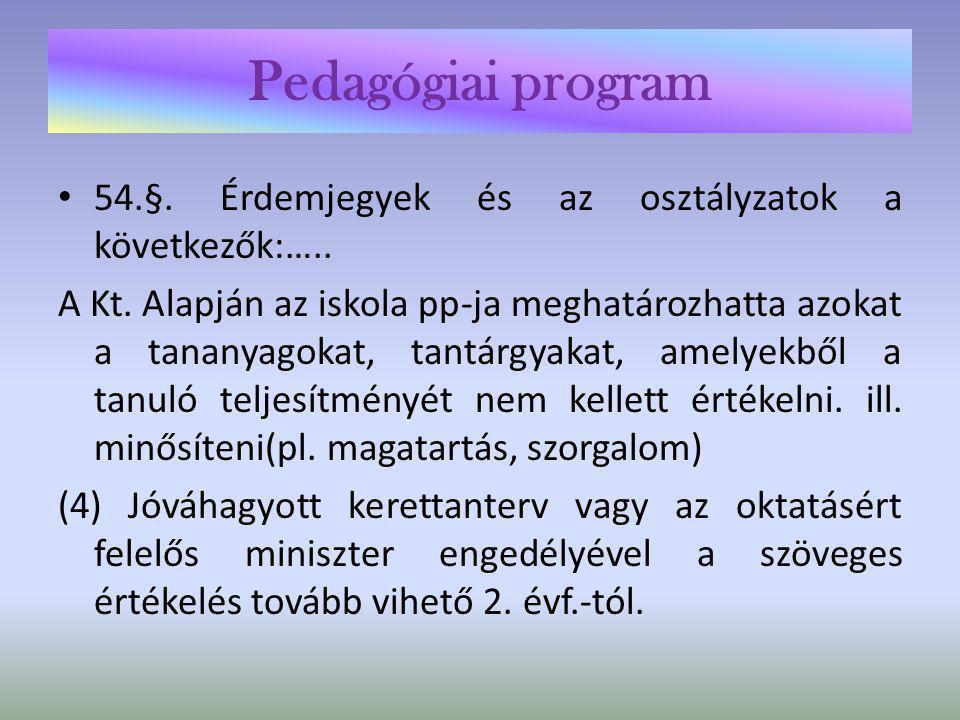 Pedagógiai program 17.§ (3)(4) A kollégium az érdekelt iskola pp-ját figyelembe véve készíti el pp-ját.