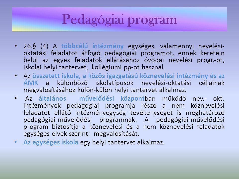 Pedagógiai program • 27.§ (6) Ha az 1-4.