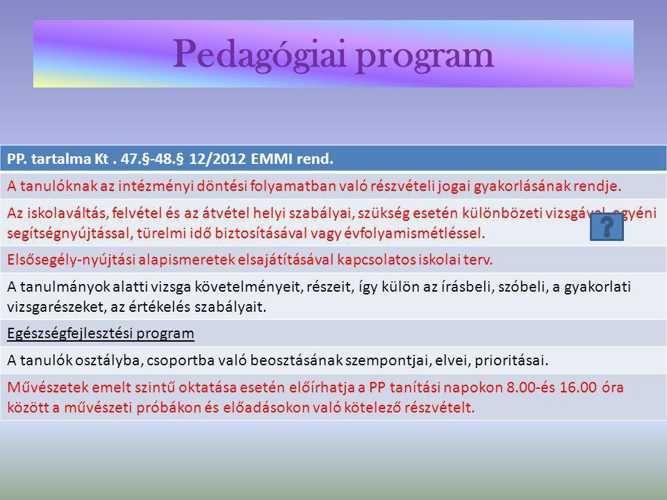 Helyi tanterv tartalma 12/2012 EMMI rend.7.§ b) Választott kerettanterv megnevezése A választott kerettanterv által meghatározott óraszám feletti kötelező tanórai foglalkozás, nem kötelező tanórai foglalkozás és ezeken elsajátítandó tananyag Kötelező, kötelezően választandó, szabadon választható tanórai foglalkozások megnevezése, óraszáma Tankönyvek, tanulmányi segédletek és taneszközök kiválasztásának elvei.