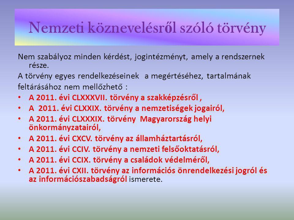 Nemzeti köznevelésr ő l szóló törvény • Hatályba lépése túlnyomórészt három időpontra koncentrálódik: • 2012.IX.1.