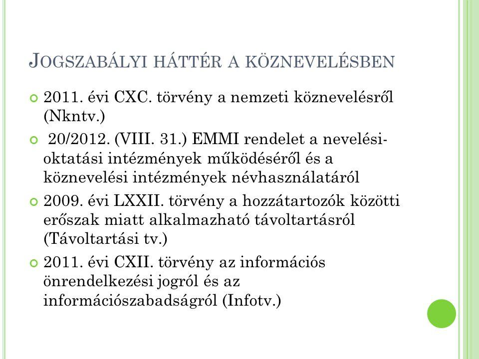 J OGSZABÁLYI HÁTTÉR A KÖZNEVELÉSBEN 2011. évi CXC. törvény a nemzeti köznevelésről (Nkntv.) 20/2012. (VIII. 31.) EMMI rendelet a nevelési- oktatási in