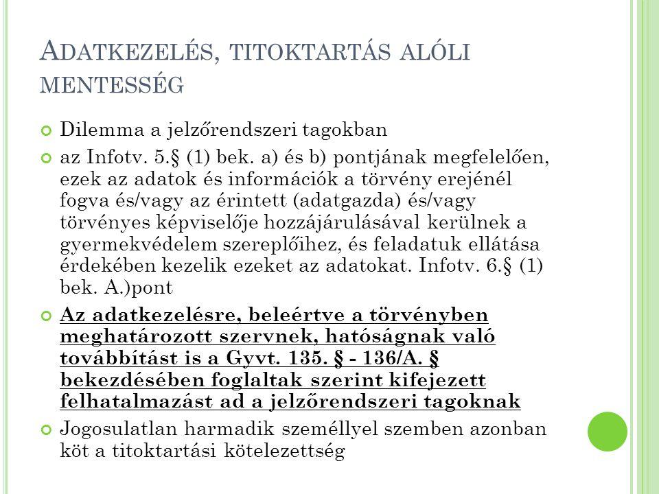 A DATKEZELÉS, TITOKTARTÁS ALÓLI MENTESSÉG Dilemma a jelzőrendszeri tagokban az Infotv. 5.§ (1) bek. a) és b) pontjának megfelelően, ezek az adatok és