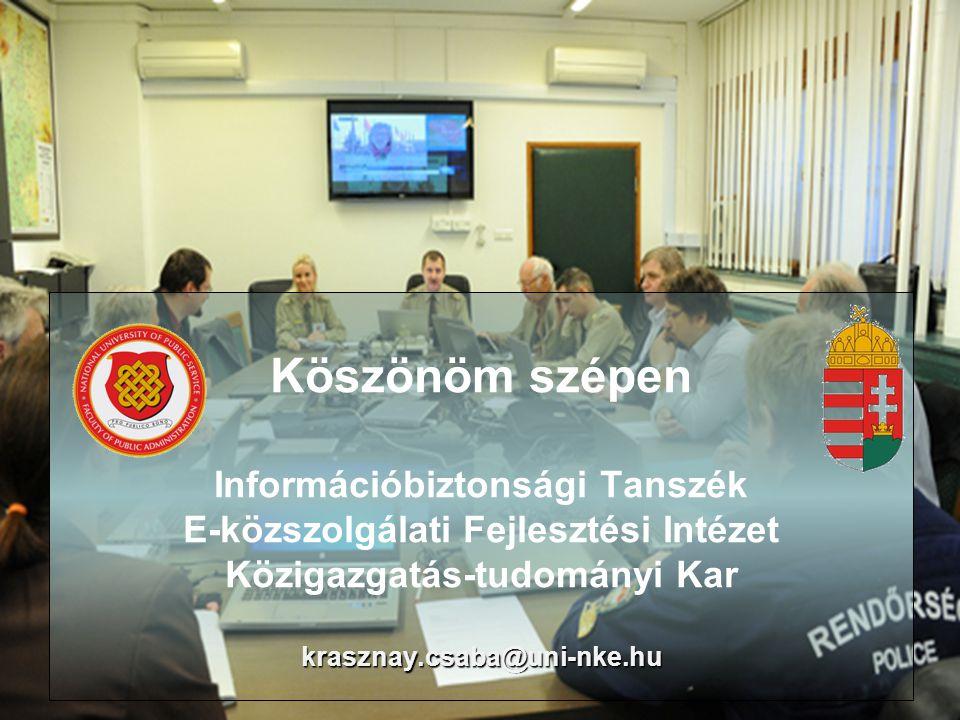 krasznay.csaba@uni-nke.hu Köszönöm szépen Információbiztonsági Tanszék E-közszolgálati Fejlesztési Intézet Közigazgatás-tudományi Kar krasznay.csaba@uni-nke.hu