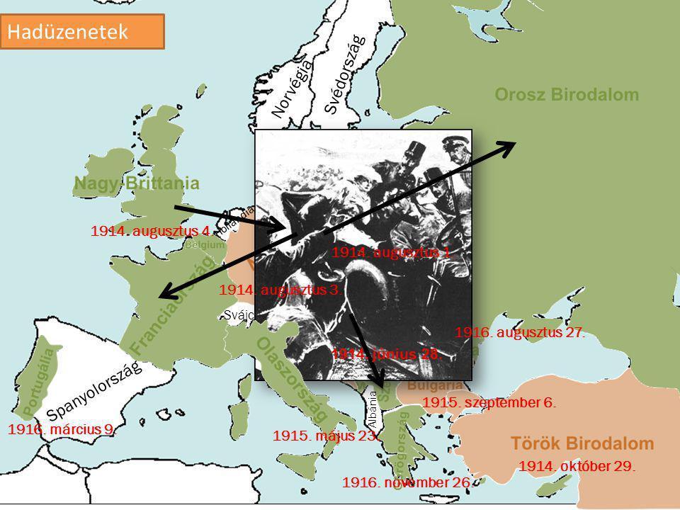 1.Mikor volt a szarajevói merénylet. a)1914. június 28.