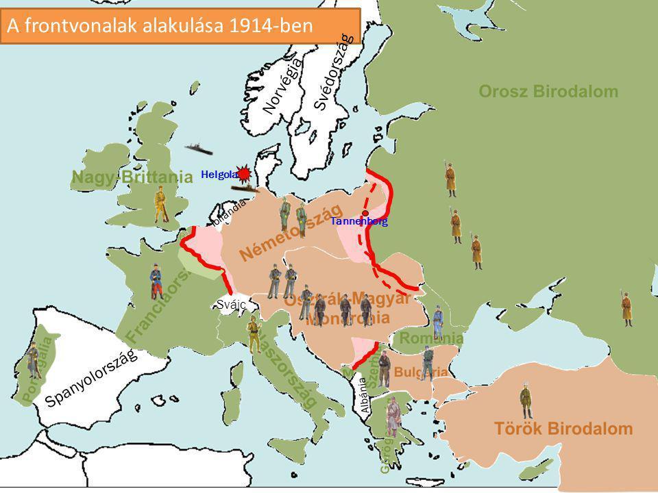 A frontvonalak alakulása 1914-ben Spanyolország Hollandia Albánia Norvégia Svédország Svájc Tannenberg Helgoland