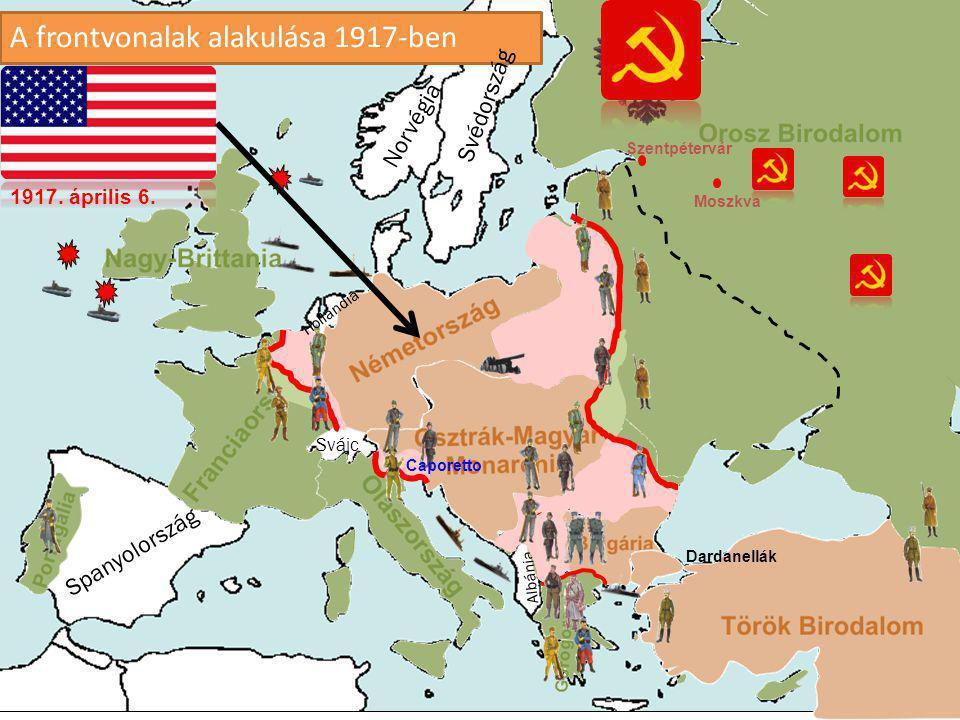 A frontvonalak alakulása 1916-ban Spanyolország Albánia Norvégia Svédország Svájc Hollandia Verdun Jütland Somme folyó Dardanellák