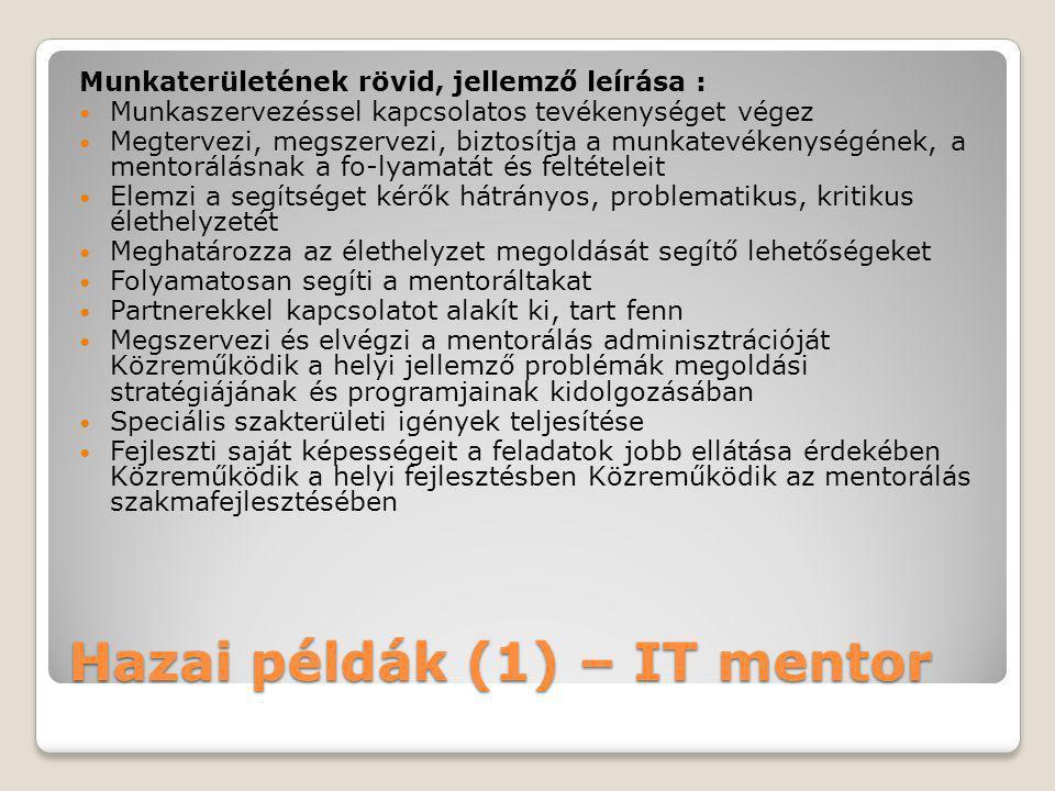 Hazai példák (1) – IT mentor Munkaterületének rövid, jellemző leírása :  Munkaszervezéssel kapcsolatos tevékenységet végez  Megtervezi, megszervezi,