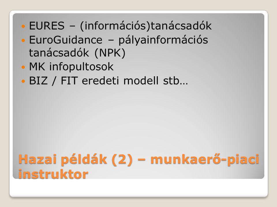 Hazai példák (2) – munkaerő-piaci instruktor  EURES – (információs)tanácsadók  EuroGuidance – pályainformációs tanácsadók (NPK)  MK infopultosok 