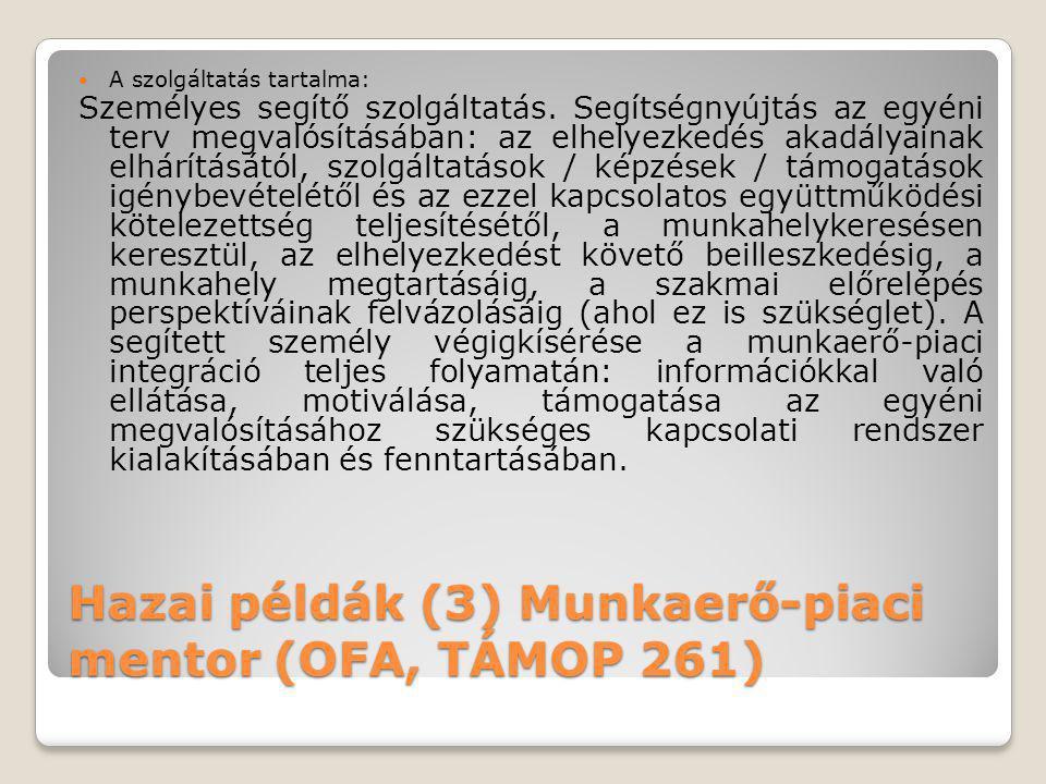 Hazai példák (3) Munkaerő-piaci mentor (OFA, TÁMOP 261)  A szolgáltatás tartalma: Személyes segítő szolgáltatás. Segítségnyújtás az egyéni terv megva
