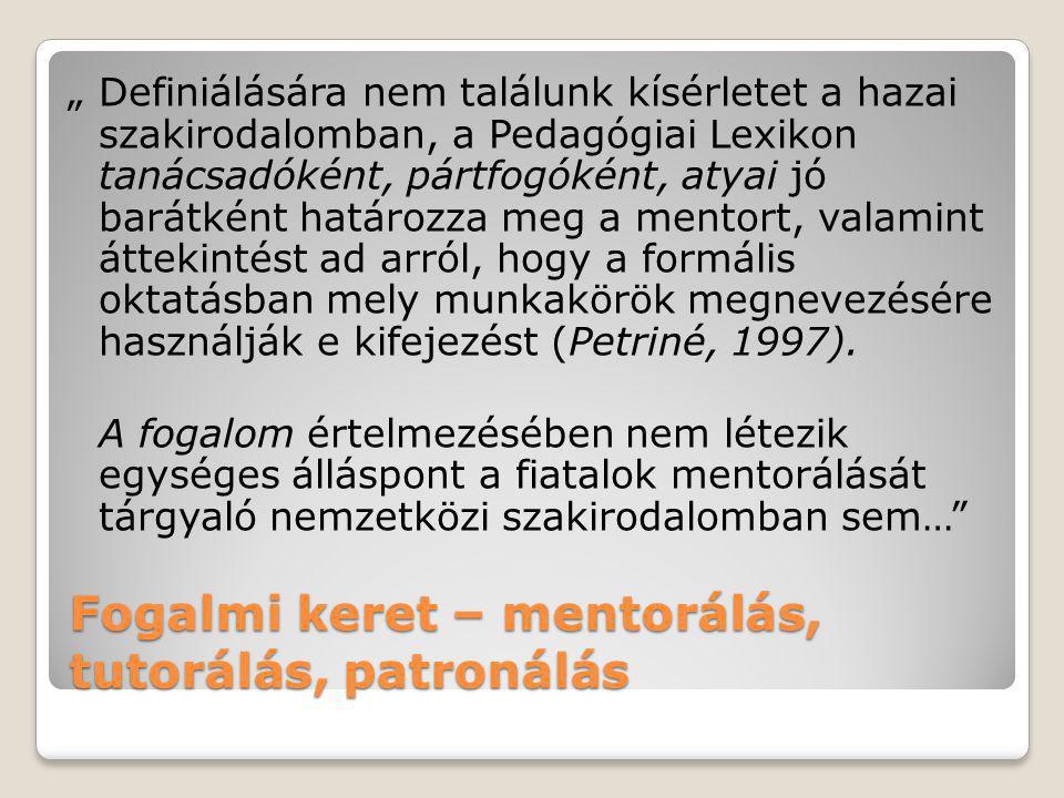"""Fogalmi keret – mentorálás, tutorálás, patronálás """"Definiálására nem találunk kísérletet a hazai szakirodalomban, a Pedagógiai Lexikon tanácsadóként,"""