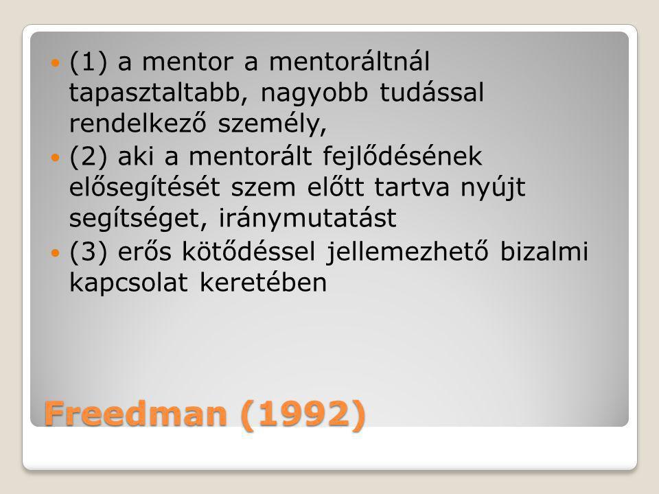 Freedman (1992)  (1) a mentor a mentoráltnál tapasztaltabb, nagyobb tudással rendelkező személy,  (2) aki a mentorált fejlődésének elősegítését szem