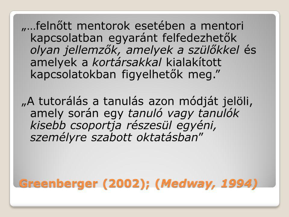 """Greenberger (2002); (Medway, 1994) """"…felnőtt mentorok esetében a mentori kapcsolatban egyaránt felfedezhetők olyan jellemzők, amelyek a szülőkkel és a"""