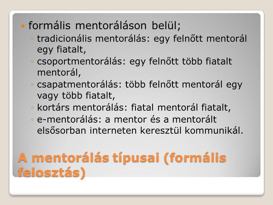 A mentorálás típusai (formális felosztás)  formális mentoráláson belül; ◦tradicionális mentorálás: egy felnőtt mentorál egy fiatalt, ◦csoportmentorál