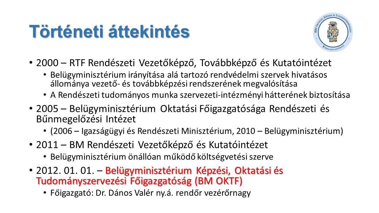 Történeti áttekintés • 2000 – RTF Rendészeti Vezetőképző, Továbbképző és Kutatóintézet • Belügyminisztérium irányítása alá tartozó rendvédelmi szervek