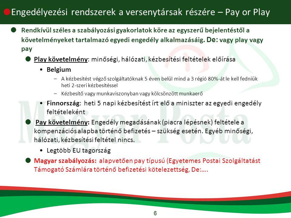6  Engedélyezési rendszerek a versenytársak részére – Pay or Play  Rendkívül széles a szabályozási gyakorlatok köre az egyszerű bejelentéstől a követelményeket tartalmazó egyedi engedély alkalmazásáig.