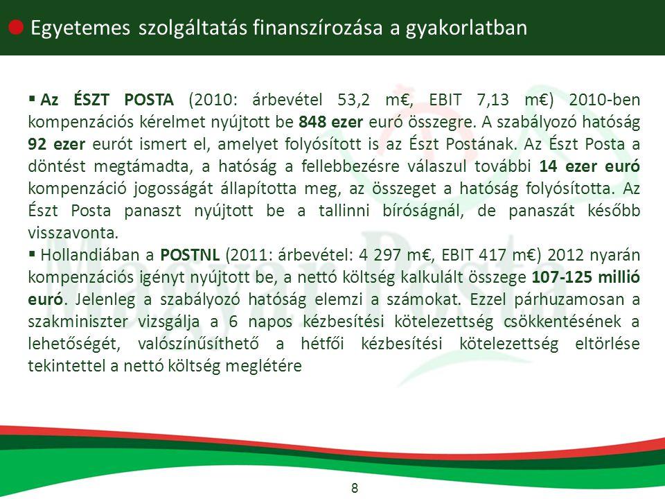 8  Egyetemes szolgáltatás finanszírozása a gyakorlatban  Az ÉSZT POSTA (2010: árbevétel 53,2 m€, EBIT 7,13 m€) 2010-ben kompenzációs kérelmet nyújtott be 848 ezer euró összegre.