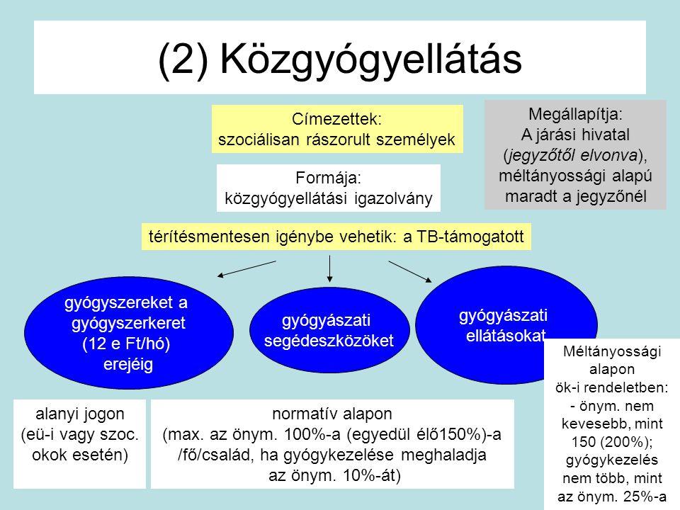 (2) Közgyógyellátás Címezettek: szociálisan rászorult személyek Formája: közgyógyellátási igazolvány térítésmentesen igénybe vehetik: a TB-támogatott