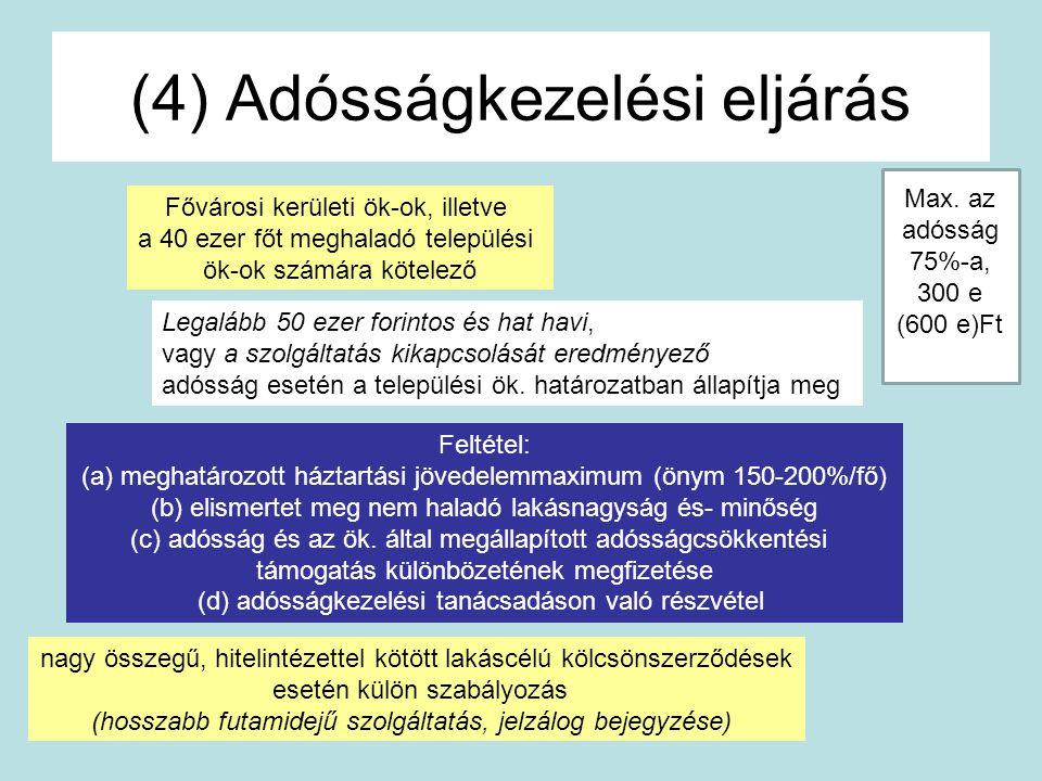 (4) Adósságkezelési eljárás Fővárosi kerületi ök-ok, illetve a 40 ezer főt meghaladó települési ök-ok számára kötelező Feltétel: (a) meghatározott ház