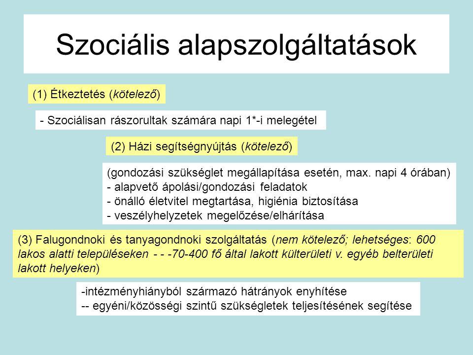 Szociális alapszolgáltatások (3) Falugondnoki és tanyagondnoki szolgáltatás (nem kötelező; lehetséges: 600 lakos alatti településeken - - -70-400 fő á