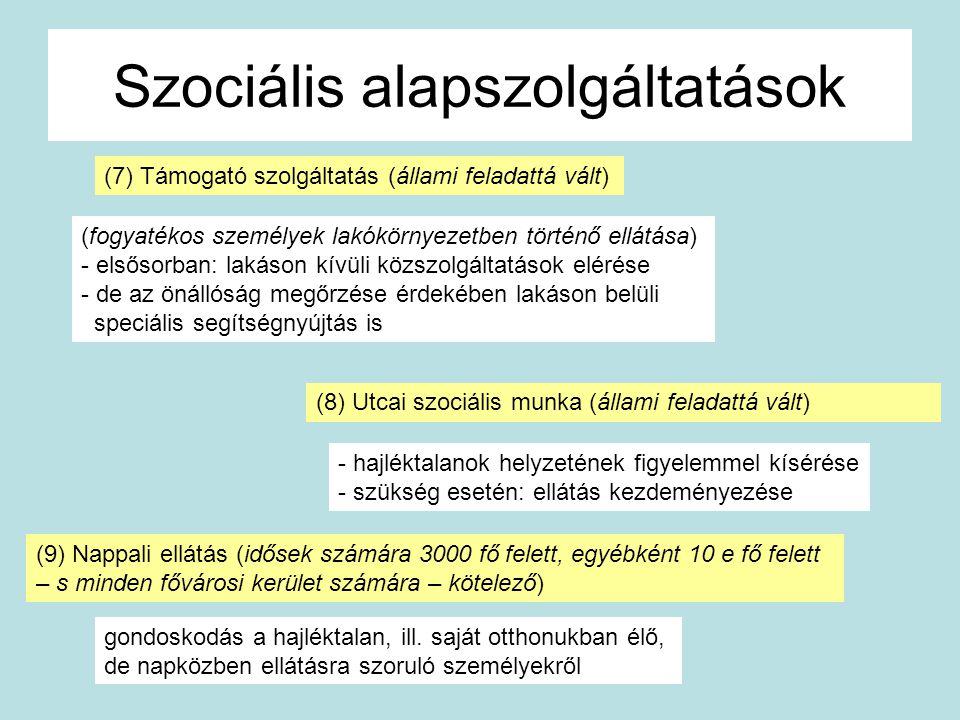 Szociális alapszolgáltatások (7) Támogató szolgáltatás (állami feladattá vált) (fogyatékos személyek lakókörnyezetben történő ellátása) - elsősorban:
