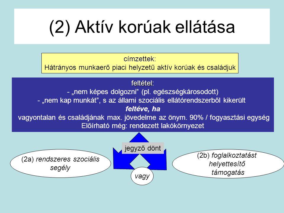 (2) Aktív korúak ellátása (2b) foglalkoztatást helyettesítő támogatás (2a) rendszeres szociális segély jegyző dönt címzettek címzettek: Hátrányos munk