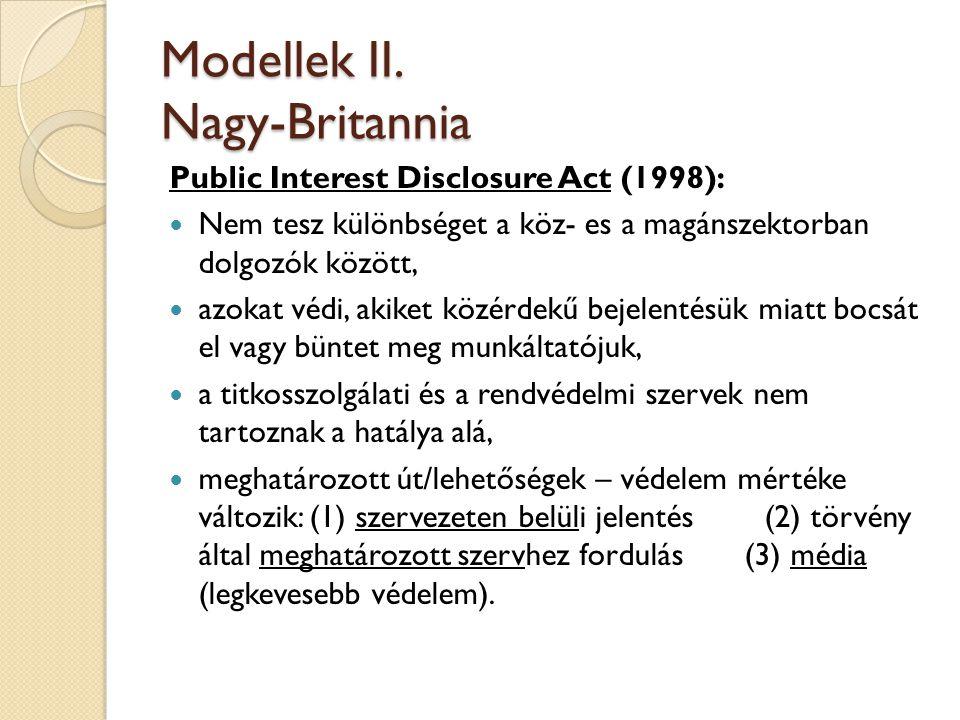 Modellek II. Nagy-Britannia Public Interest Disclosure Act (1998):  Nem tesz különbséget a köz- es a magánszektorban dolgozók között,  azokat védi,