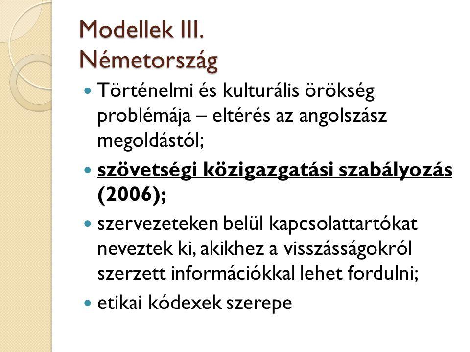 Modellek III. Németország  Történelmi és kulturális örökség problémája – eltérés az angolszász megoldástól;  szövetségi közigazgatási szabályozás (2