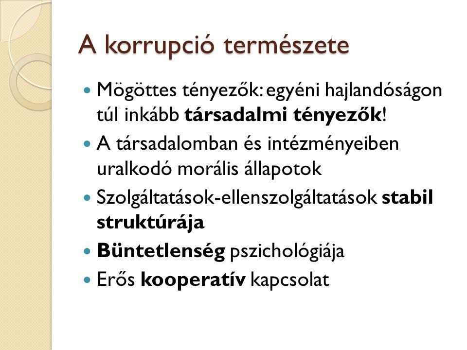 A korrupció természete  Mögöttes tényezők: egyéni hajlandóságon túl inkább társadalmi tényezők!  A társadalomban és intézményeiben uralkodó morális