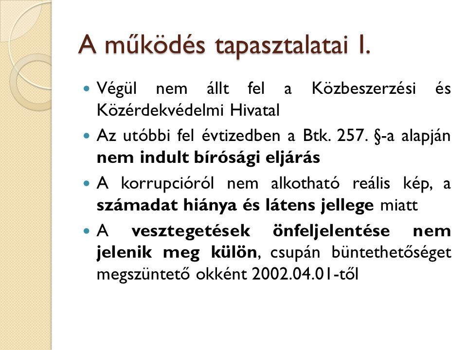 A működés tapasztalatai I.  Végül nem állt fel a Közbeszerzési és Közérdekvédelmi Hivatal  Az utóbbi fel évtizedben a Btk. 257. §-a alapján nem indu