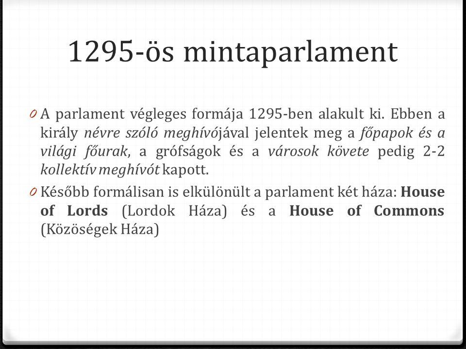 1295-ös mintaparlament 0 A parlament végleges formája 1295-ben alakult ki. Ebben a király névre szóló meghívójával jelentek meg a főpapok és a világi