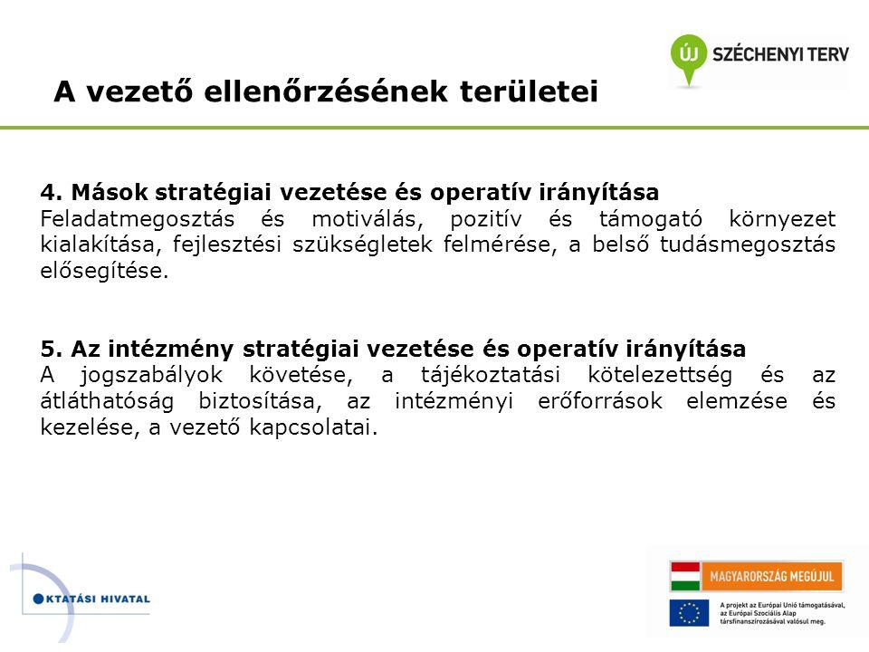 A vezető ellenőrzésének területei 4. Mások stratégiai vezetése és operatív irányítása Feladatmegosztás és motiválás, pozitív és támogató környezet kia