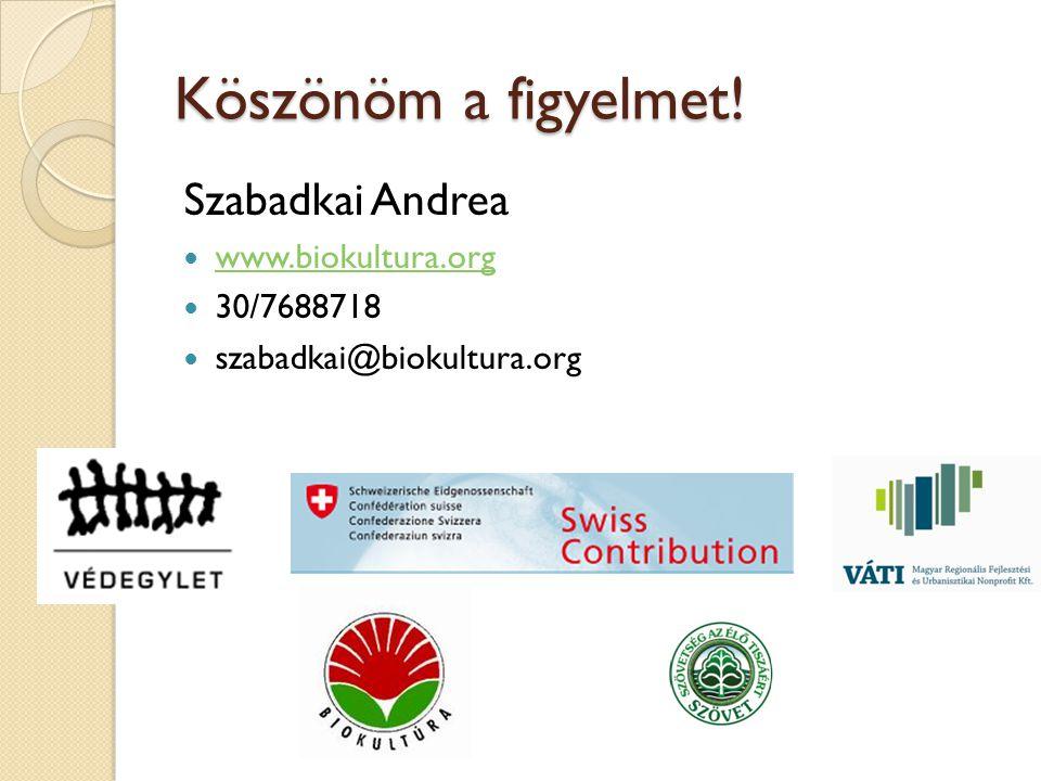 Köszönöm a figyelmet! Szabadkai Andrea  www.biokultura.org www.biokultura.org  30/7688718  szabadkai@biokultura.org