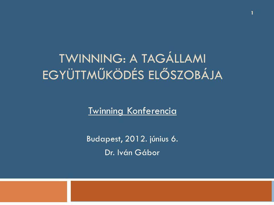 TWINNING: A TAGÁLLAMI EGYÜTTMŰKÖDÉS ELŐSZOBÁJA 1 Twinning Konferencia Budapest, 2012.