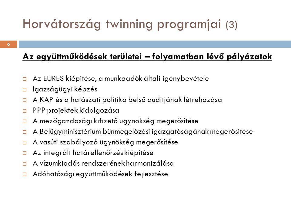 Horvátország twinning programjai (3) 6 Az együttműködések területei – folyamatban lévő pályázatok  Az EURES kiépítése, a munkaadók általi igénybevétele  Igazságügyi képzés  A KAP és a halászati politika belső auditjának létrehozása  PPP projektek kidolgozása  A mezőgazdasági kifizető ügynökség megerősítése  A Belügyminisztérium bűnmegelőzési igazgatóságának megerősítése  A vasúti szabályozó ügynökség megerősítése  Az integrált határellenőrzés kiépítése  A vízumkiadás rendszerének harmonizálása  Adóhatósági együttműködések fejlesztése