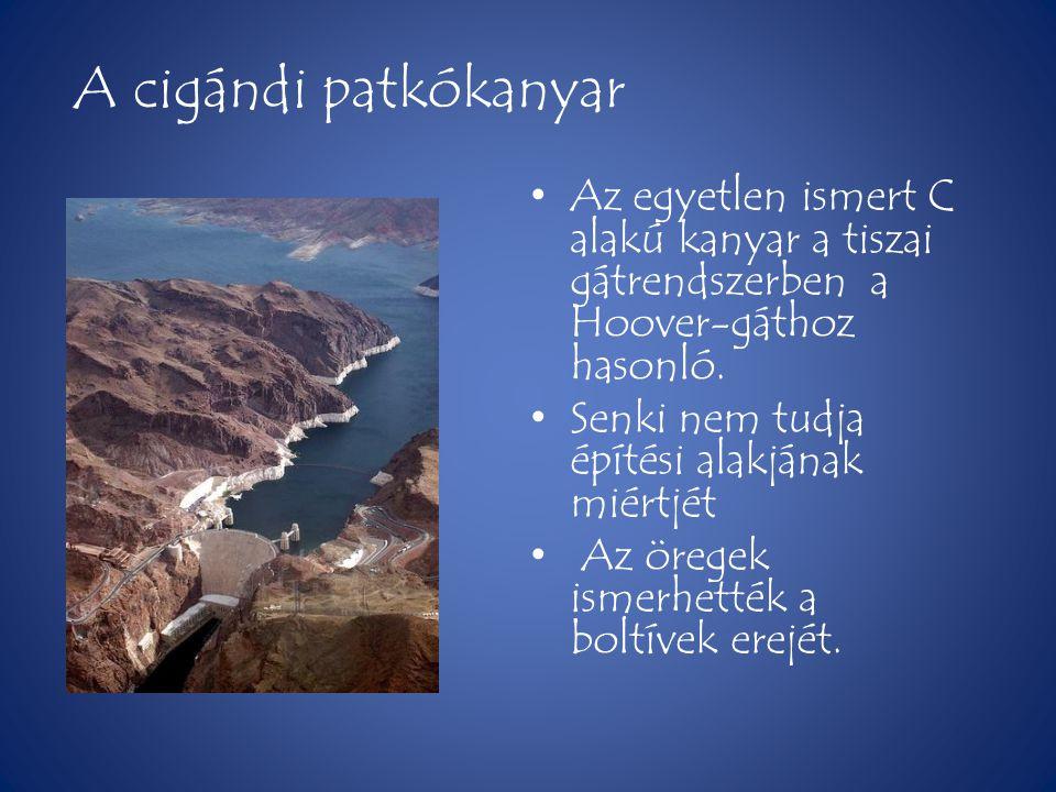 A cigándi patkókanyar • Az egyetlen ismert C alakú kanyar a tiszai gátrendszerben a Hoover-gáthoz hasonló. • Senki nem tudja építési alakjának miértjé
