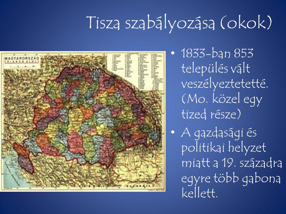 Tisza szabályozása (okok) • 1833-ban 853 település vált veszélyeztetetté. (Mo. közel egy tized része) • A gazdasági és politikai helyzet miatt a 19. s
