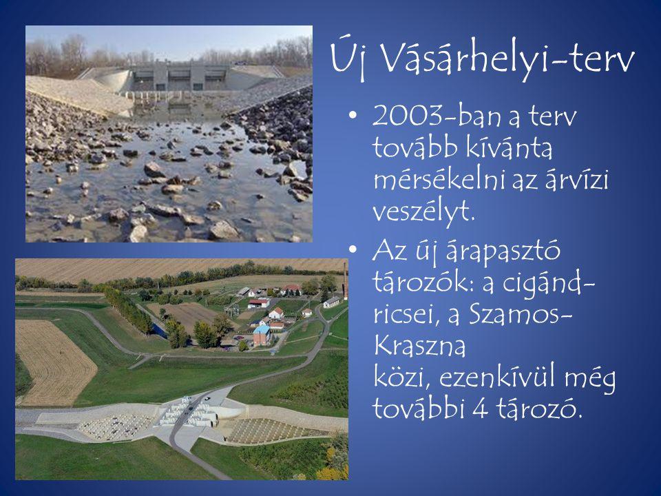 Új Vásárhelyi-terv • 2003-ban a terv tovább kívánta mérsékelni az árvízi veszélyt. • Az új árapasztó tározók: a cigánd- ricsei, a Szamos- Kraszna közi